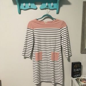 EUC MONTEAU Long Tunic Top W/ Stripes & Pockets